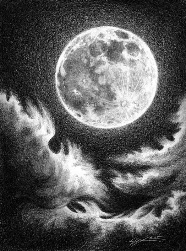 Moon Poster featuring the drawing Communion by Lucy West