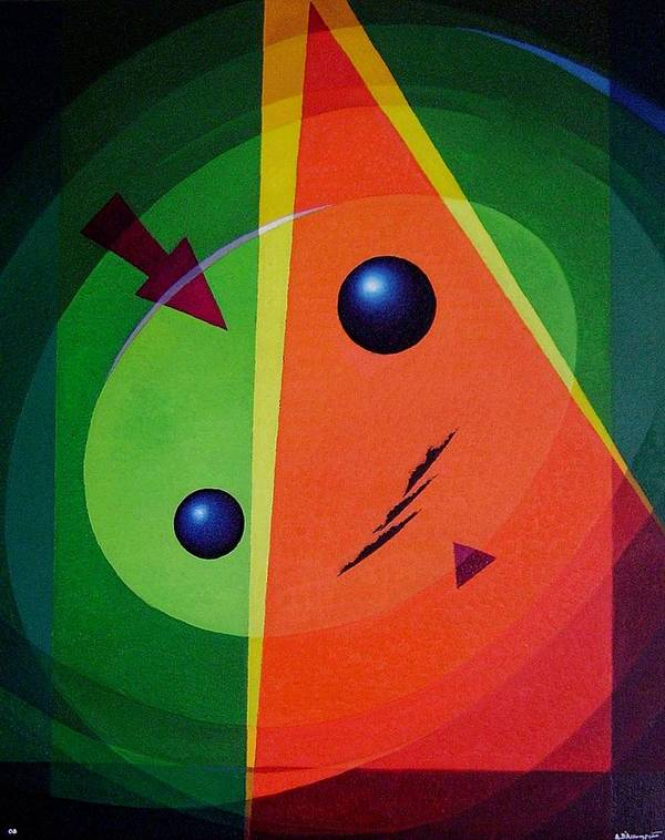 #abstract Poster featuring the painting Compass by Alberto DAssumpcao
