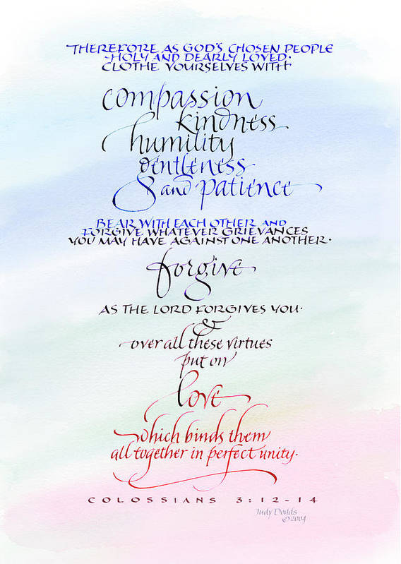 Anniversary Poster featuring the painting Compassion And Love by Judy Dodds