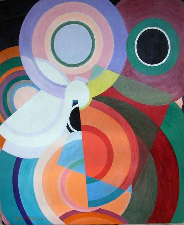 Abstract Poster featuring the painting Complement by Muriel Dolemieux