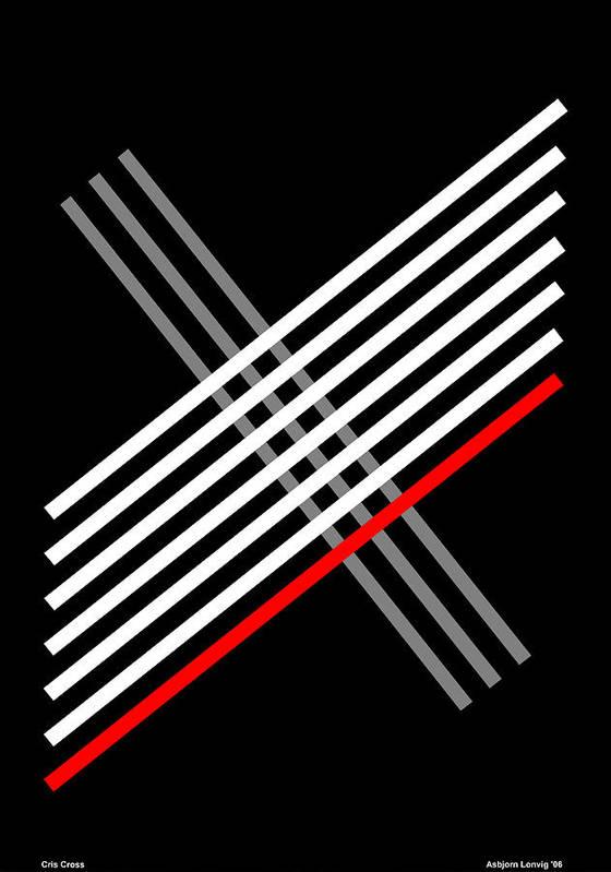 Cris Cross Poster featuring the digital art Composition Cris Cross by Asbjorn Lonvig