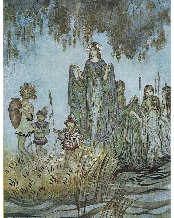 Arthur Rackman Poster featuring the painting Comus Sabrina Rises Attended By Water-nymphs by Arthur Rackman