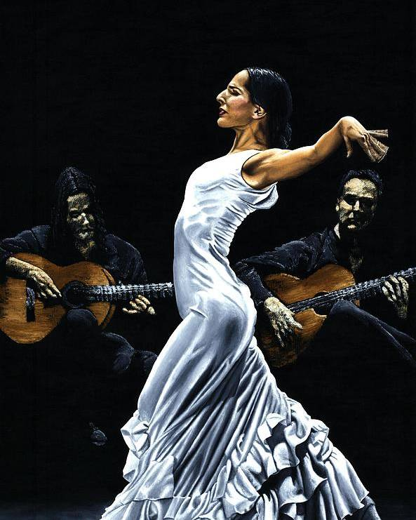 Flamenco Poster featuring the painting Concentracion Del Funcionamiento Del Flamenco by Richard Young
