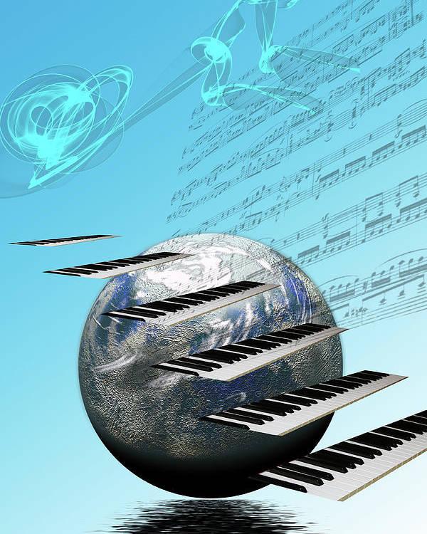 Music Poster featuring the digital art Conceptual Music World by Angel Jesus De la Fuente