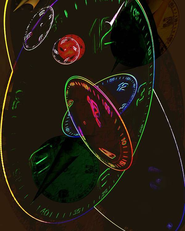 Clocks Poster featuring the digital art Concurrent Clocks by Helmut Rottler