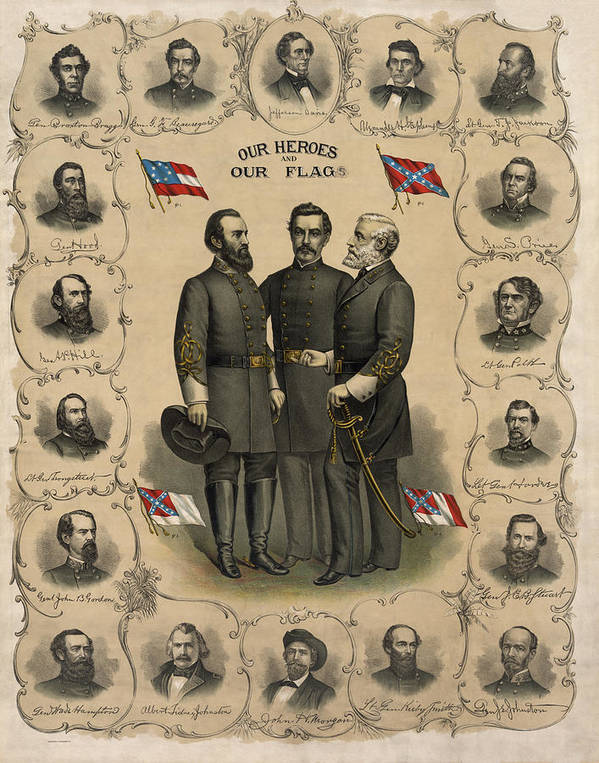 Confederate Poster featuring the painting Confederate Generals Of The Civil War by War Is Hell Store