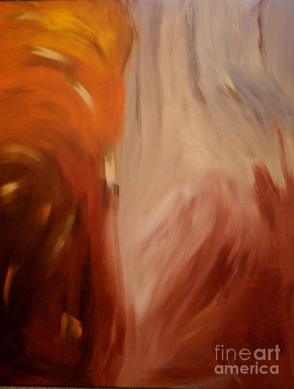 Abstract Earthtone Brown Tan Cream Yellow Gold Poster featuring the painting Conflagration by Lynda Farrow