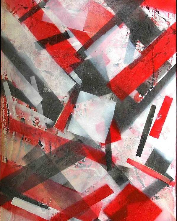 Abstract Poster featuring the painting Construction In Red by Evguenia Men