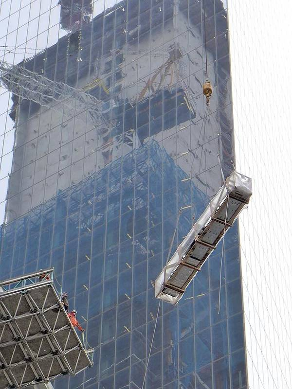 Financial District Poster featuring the photograph Construction Reflection by Cheryl Kurman