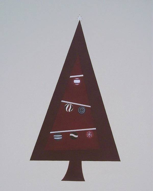 Abstract Christmas Poster featuring the painting Contemporary Christmas Tree by Sandy Bostelman