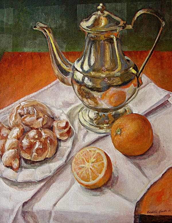 Continental Breakfast Poster featuring the painting Continental Breakfast by JoAnne Castelli-Castor