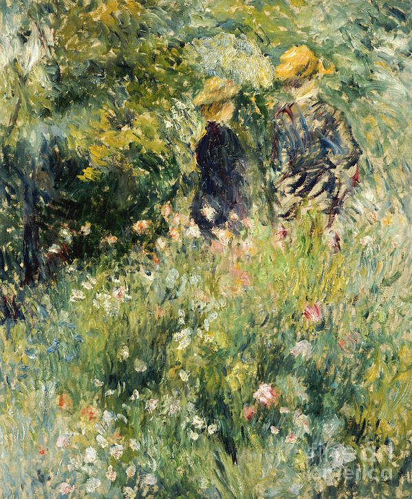 Impressionism; Impressionist; Female; Talking; Flower; Plant; Conversation In A Rose Garden Poster featuring the painting Conversation In A Rose Garden by Pierre Auguste Renoir