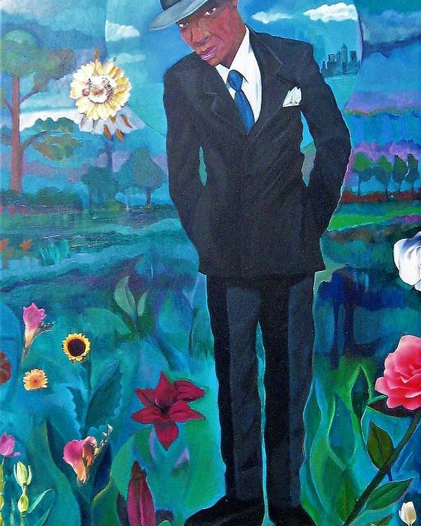 Man Poster featuring the painting Cooler By The Lake/male by Joyce Owens