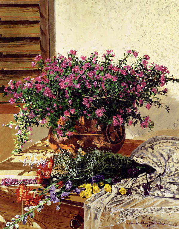 Still Life Poster featuring the painting Copper And Lace by David Lloyd Glover