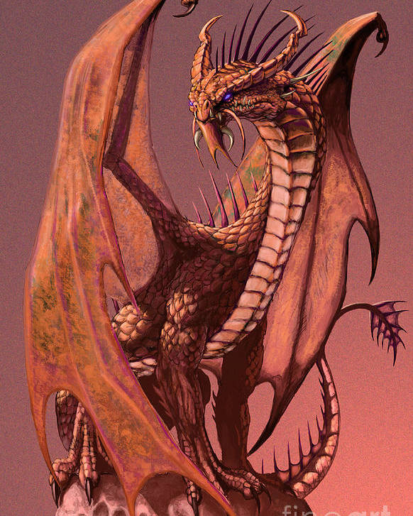 Dragon Poster featuring the digital art Copper Dragon by Stanley Morrison