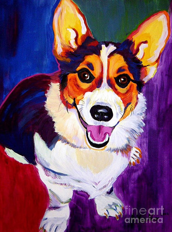 Dog Poster featuring the painting Corgi - Taste The Rainbow by Alicia VanNoy Call