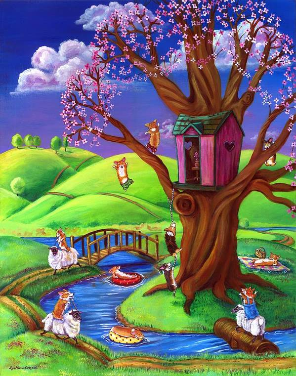 Pembroke Welsh Corgi Poster featuring the painting Corgis Bodacious Spring Fling by Lyn Cook