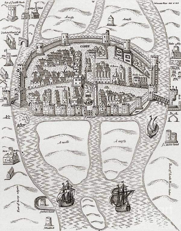 Cork Poster featuring the drawing Cork, County Cork, Ireland In 1633 by Irish School