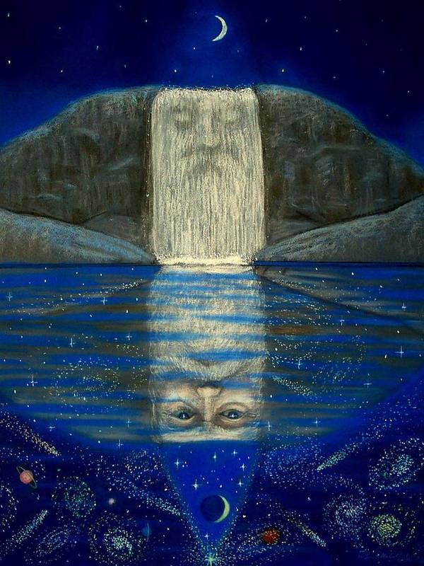 Fantasy Poster featuring the painting Cosmic Wizard Reflection by Sue Halstenberg