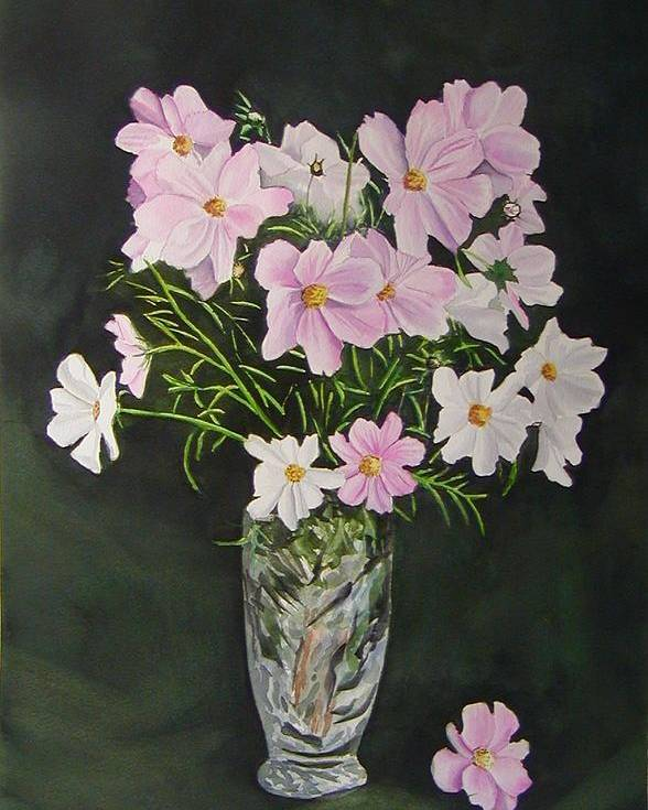 Floral Poster featuring the painting Cosmos And Crystal by Sharon Steinhaus