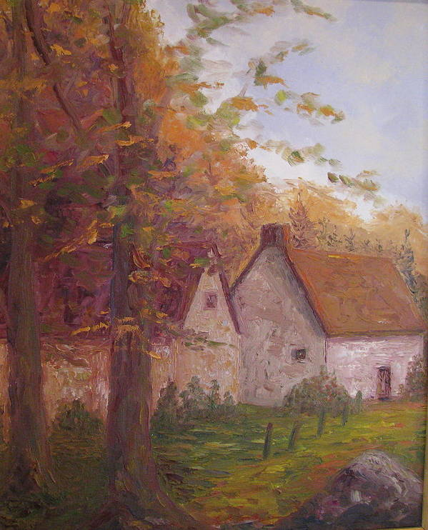 Landscape Poster featuring the painting Cottage On The Moors by Belinda Consten