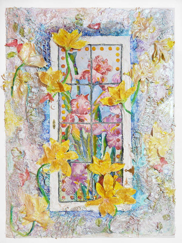Flowers Cottage Window Framed Watercolor Deccoulage 3d Pastel Texured Butterfly Sunny Poster featuring the painting Cottage Window by Carole Overall