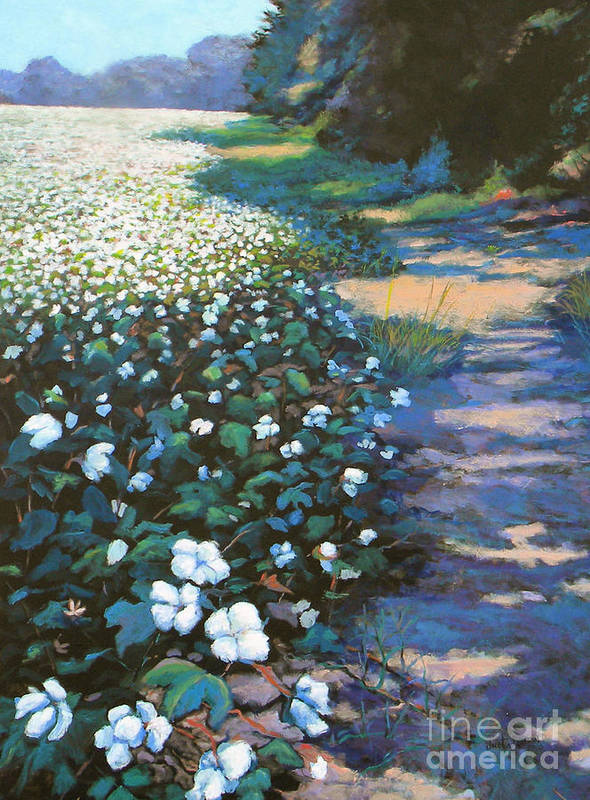Southern Poster featuring the painting Cotton Field by Jeanette Jarmon