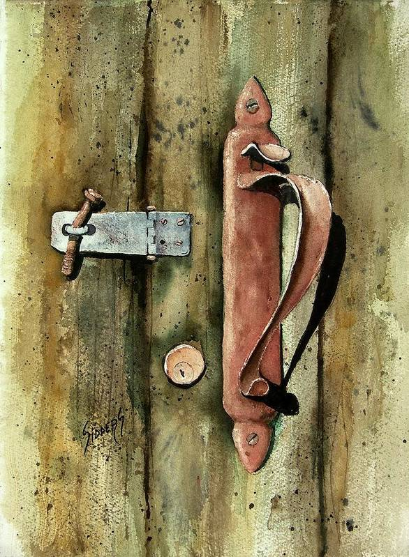 Rust Poster featuring the painting Country Door Lock by Sam Sidders