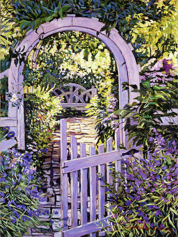 Gardens Poster featuring the painting Country Garden Gate by David Lloyd Glover