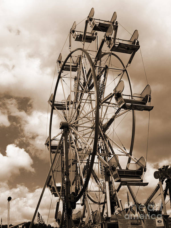 Ferris Wheel Poster featuring the photograph County Fair by Kathy Jennings