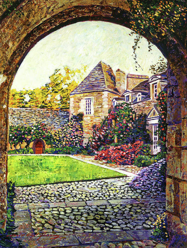 Landscape Poster featuring the painting Courtyard Impressions Provence by David Lloyd Glover