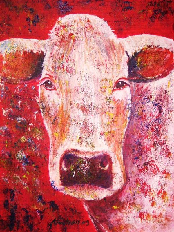 Cow Poster featuring the painting Cow by Anastasis Anastasi