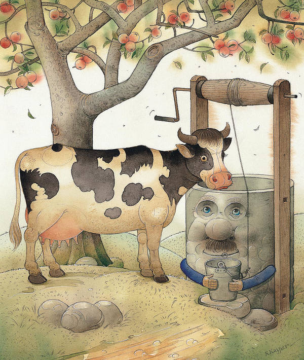Cow Well Apple Tree Summer Green Thirst Poster featuring the painting Cow and Well by Kestutis Kasparavicius