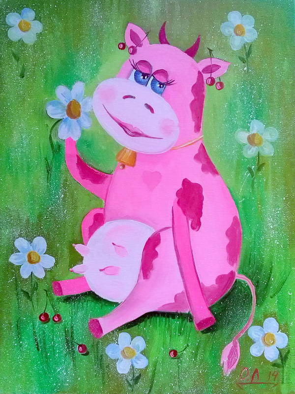 Cow Poster featuring the painting Cow by Olha Darchuk