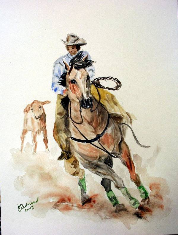 Cowboy Poster featuring the painting Cowboy by BJ Redmond
