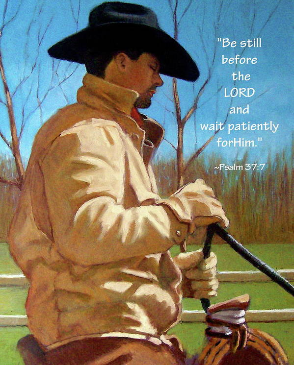 Cowboy Poster featuring the pastel Cowboy In Pastel With Scripture Verse by Joyce Geleynse