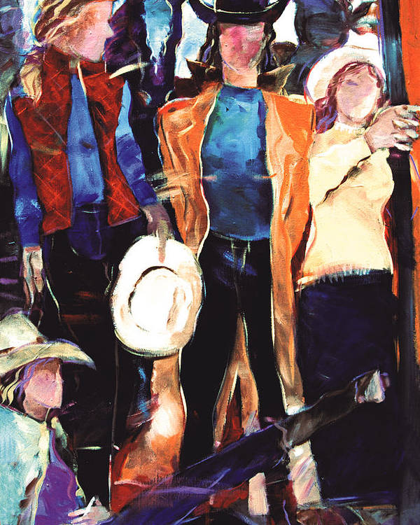 Figurative Poster featuring the painting Cowgirls by Ron Patterson