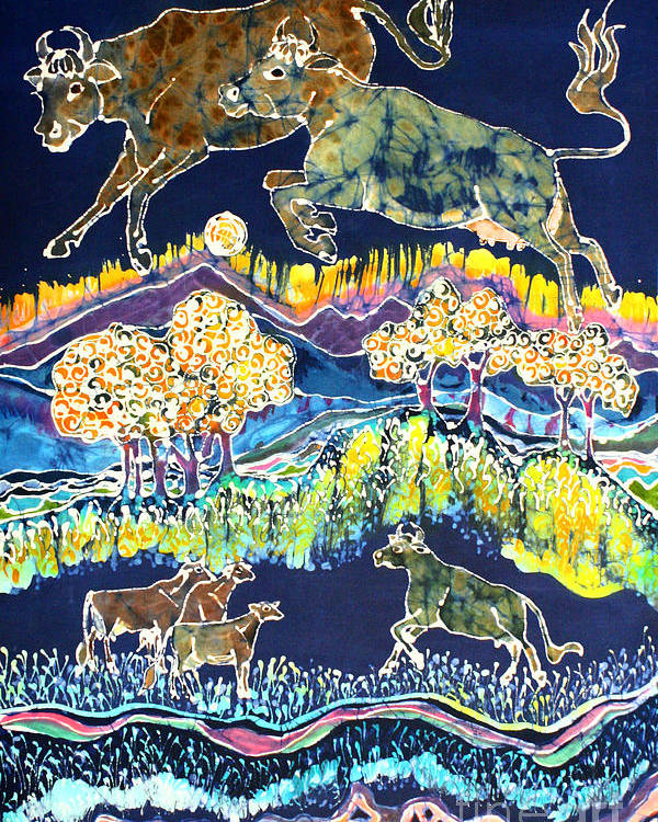 Cow Batik Poster featuring the tapestry - textile Cows Jumping Over The Moon by Carol Law Conklin