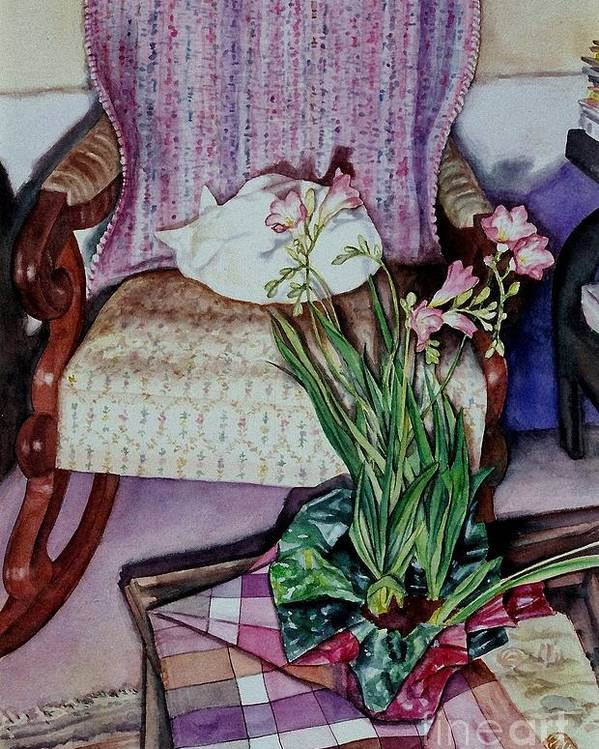 Cynthia Pride Watercolor Paintings Poster featuring the painting Cozy Kitty by Cynthia Pride