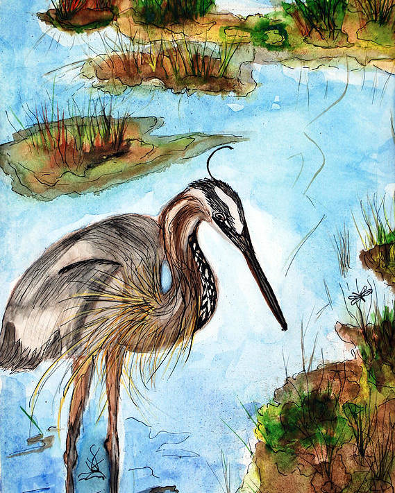 Birds Poster featuring the painting Crane In Florida Swamp by Margaret Fortunato