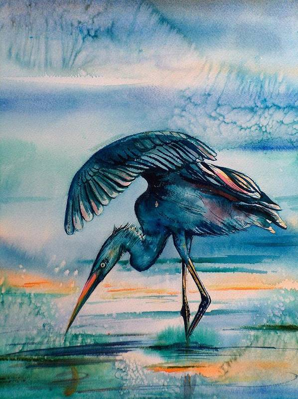 Poster featuring the painting Crane by Sylvia Stone