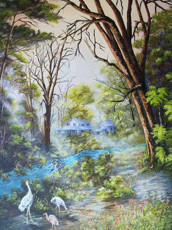 Landscape Poster featuring the painting Cranes In The Morning by Dennis Vebert