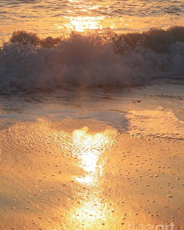 Waves Poster featuring the photograph Crashing Wave at Sunrise by Nadine Rippelmeyer