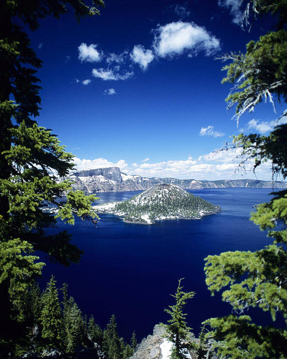 Allan Seiden Poster featuring the photograph Crater Lake by Allan Seiden - Printscapes
