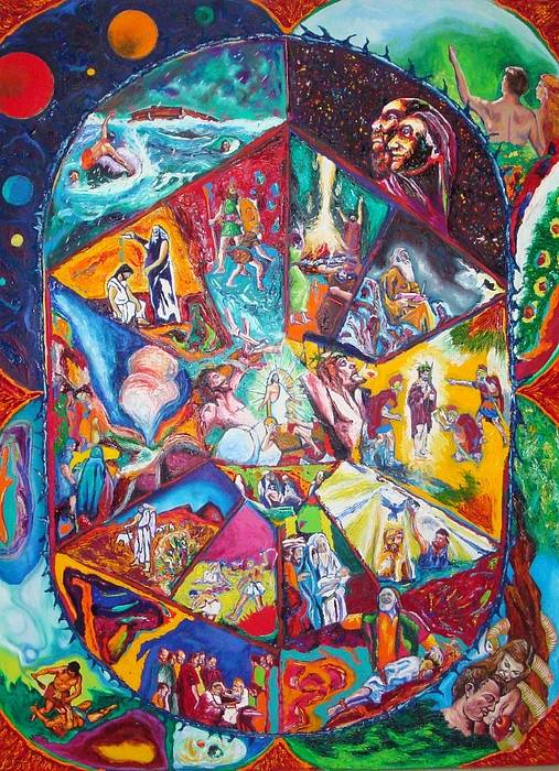 Thematic Bible Painting Poster featuring the painting Creation To Christ by Kennedy Paizs