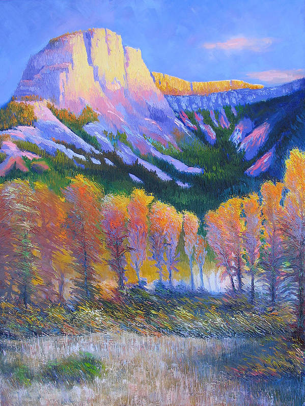 Oil Poster featuring the painting Creator Mountain by Gregg Caudell