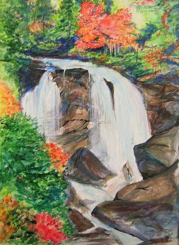 Creek Poster featuring the painting Creek In Autumn by Lizzy Forrester