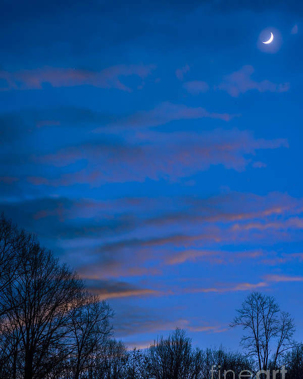 Sliver Poster featuring the photograph Crescent Moon At Sundown by Thomas R Fletcher