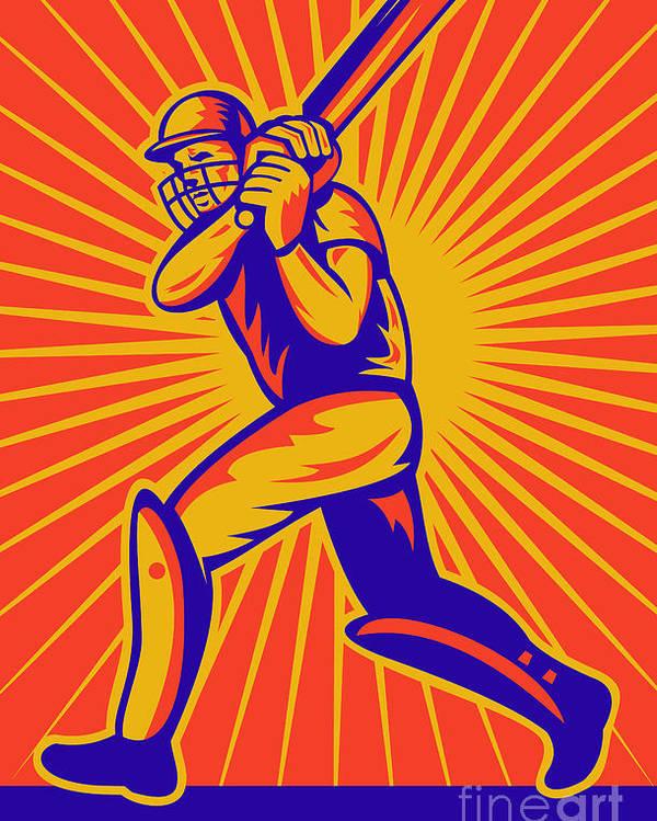 Cricket Poster featuring the digital art Cricket Sports Batsman Batting by Aloysius Patrimonio