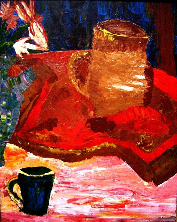 Still Life Poster featuring the painting Crock And Coffee by Karen L Christophersen